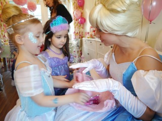 Cinderella interacting with children at Princess Party