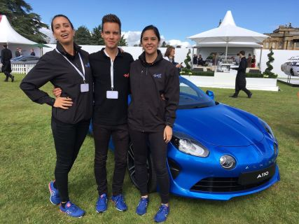 Alpine promo staff exhibiting the A110
