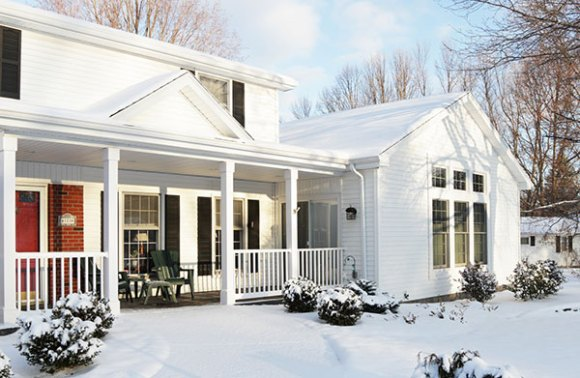residential roofing with snow