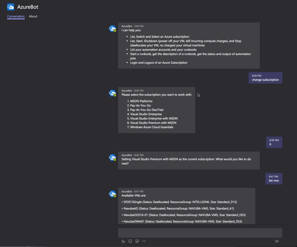 AzureBot Conversation