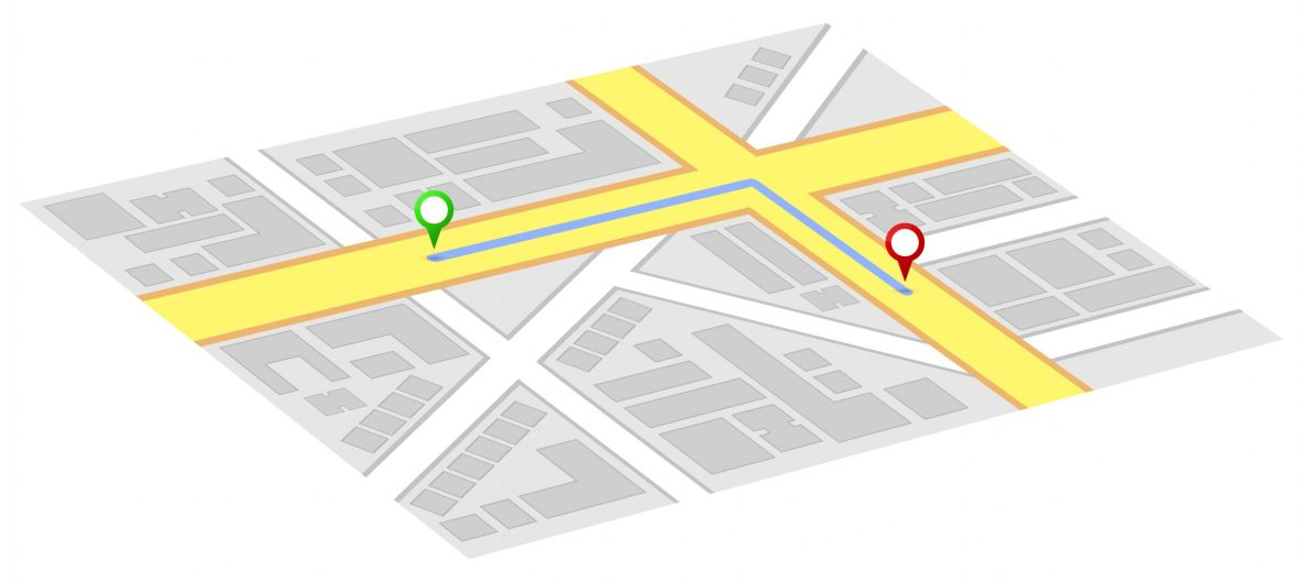 Gps Map Shows Way To Home