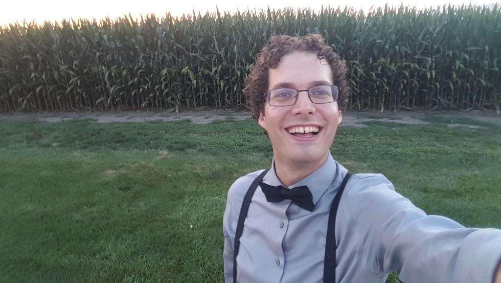 Me taking a selfie in the cornfields