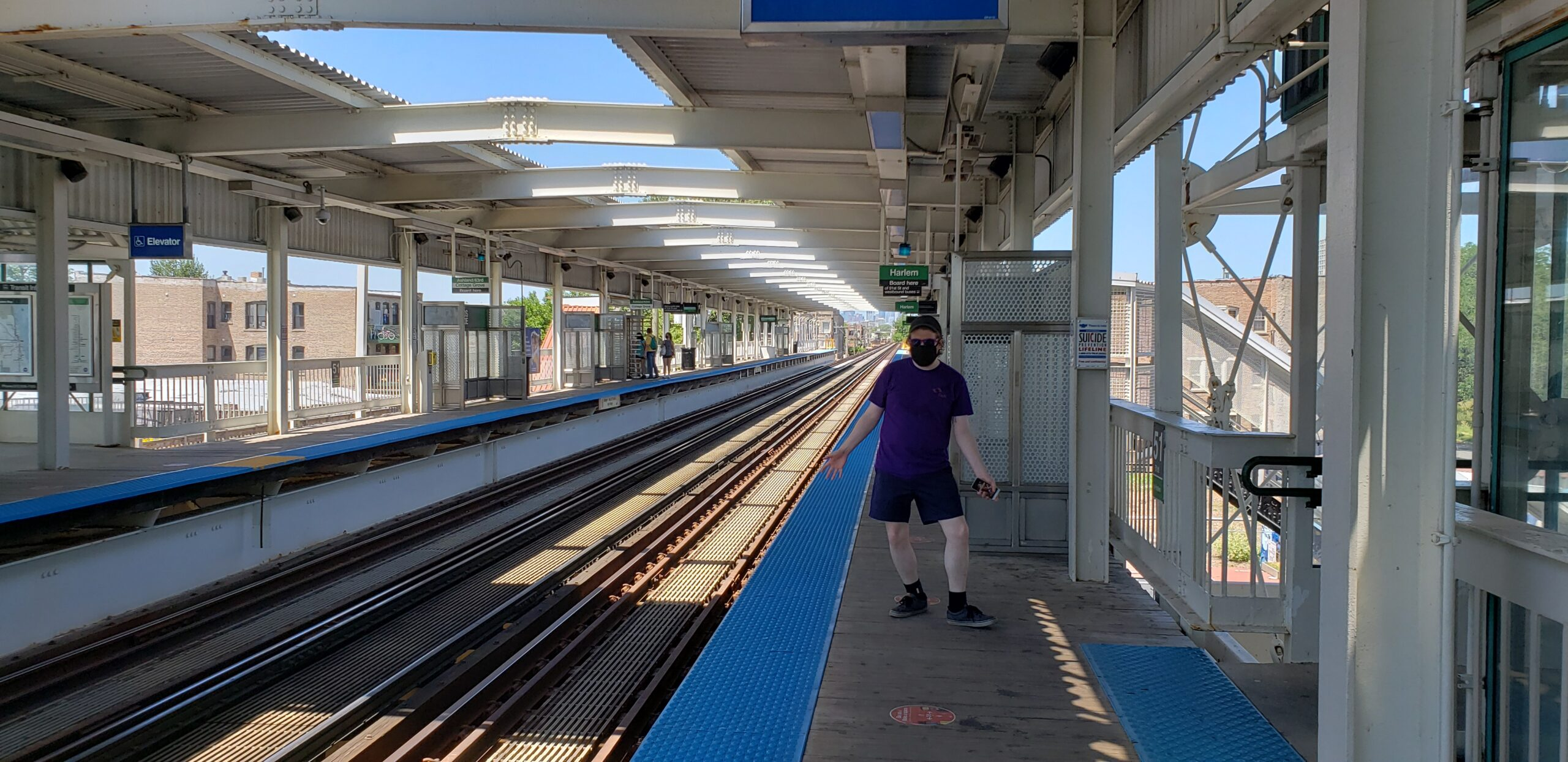 My bf waiting for the train at the station
