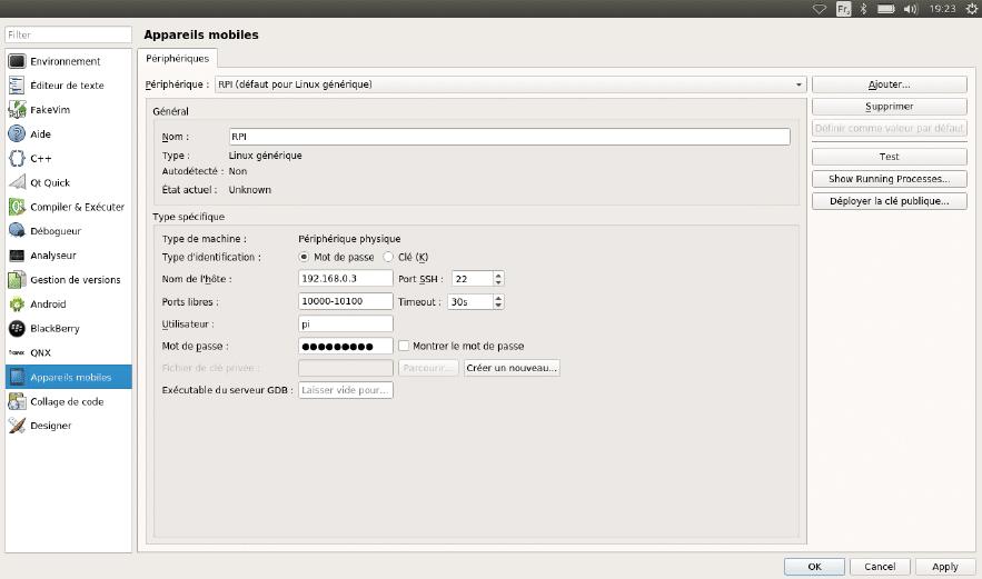 Configuration de la machine cible : RPI.
