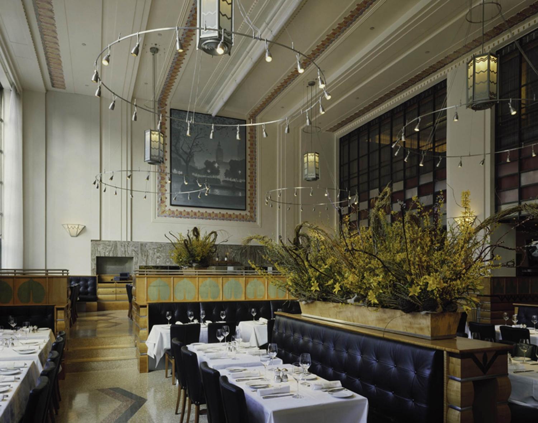 kitchen banquettes hanging shelves eleven madison park | bentel & architects/planners ...