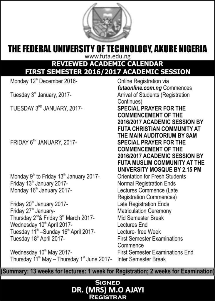 FUTA Revised (New) Academic Calendar For 2016/2017 Released