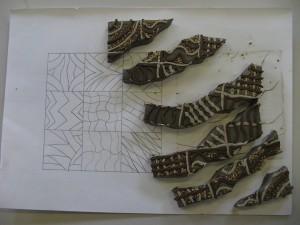 tile cut into bits.