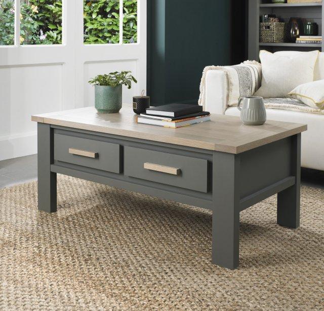 oakham dark grey scandi oak coffee table with drawers