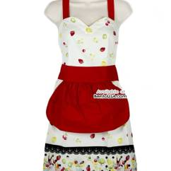 Cute Kitchen Aprons Ethan Allen Table Apron Lightweight Cotton Strawberry Cream For