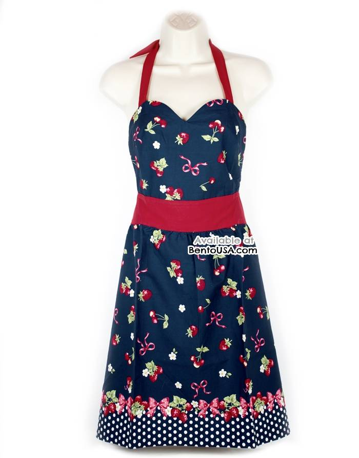 cute kitchen aprons tuscan decor apron lightweight cotton strawberry blue for
