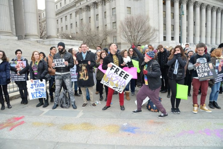Kesha fans protest in front of the New York State Supreme Court Raymond Hall/Getty