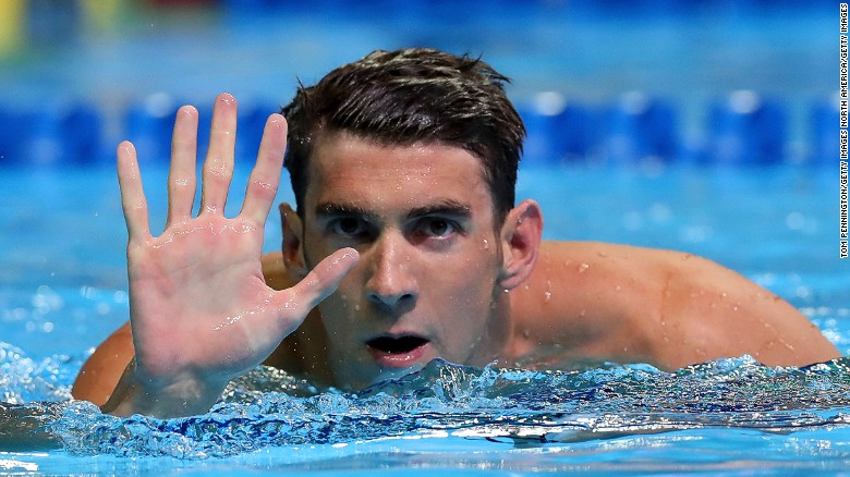 Michael Phelps reacts after booking his place on the U.S. swimming team for the 2016 Olympics