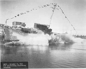 English: USS Pivot launched at the Gulf Shipbu...