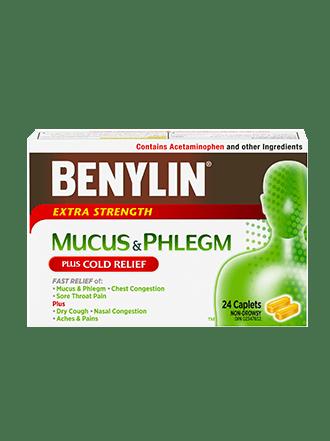 MUCUS & PHLEGM PLUS COLD RELIEF Caplets   BENYLIN® Canada