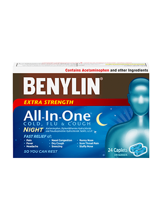 All‑In‑One® COLD AND FLU NIGHT Caplets | BENYLIN® Canada