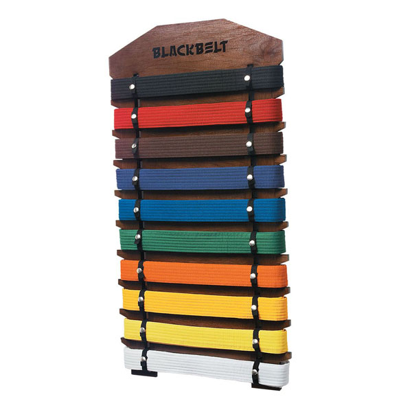 karate belt rack display 10 level walnut