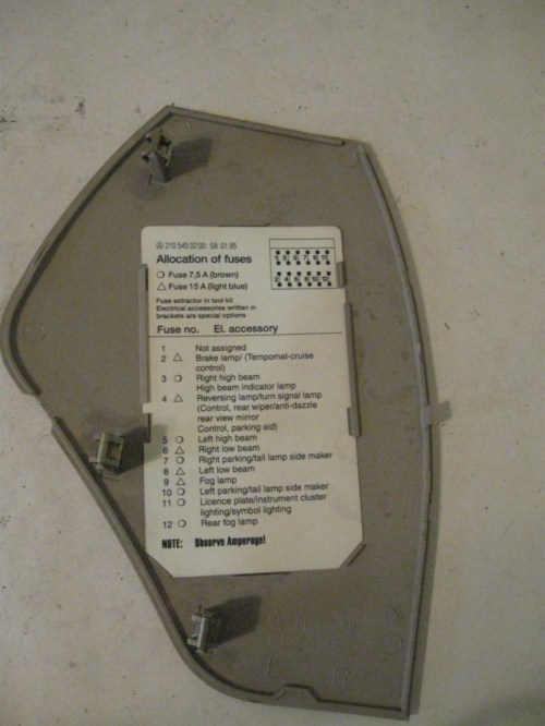 small resolution of fusebox cover interior left of dash 2106800778 mercedes w210