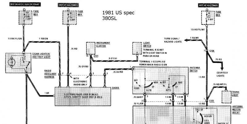 Antenna Power Injector Schematic Help With Original Radio Wiring 81 380sl Mercedes Benz