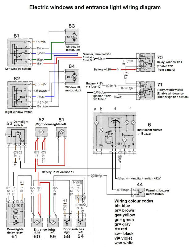 electric window wiring diagrams bass boat diagram 1975 r107 problem mercedes benz forum click image for larger version name windows and courtesy light jpg