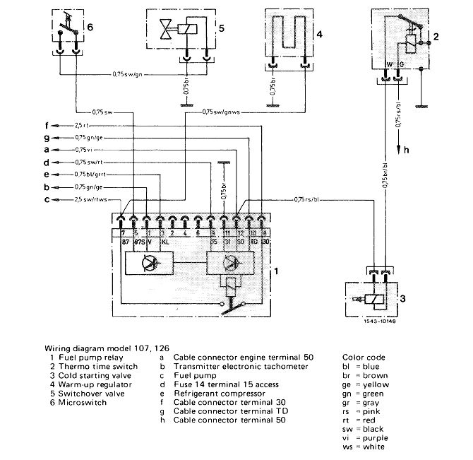 ford fuel pump relay wiring diagram 07 gmc sierra stereo mercedes how to bypass on u002784 280se m110 988 benzclick image for