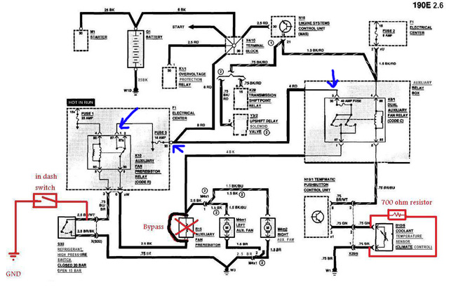 Mercedes aux fan schematic