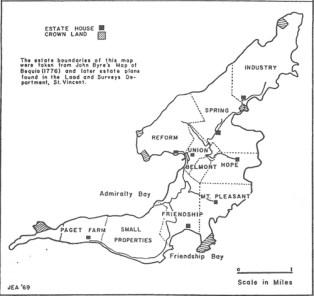Bequia Estates Map 1830