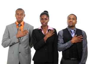 Business team pledging