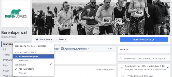 Voorbeeld van het aanzetten van Berenlopers.nl pagina notificaties op Facebook.