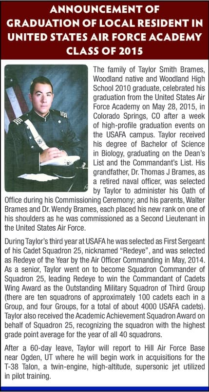 Taylor Brames USAF graduation article