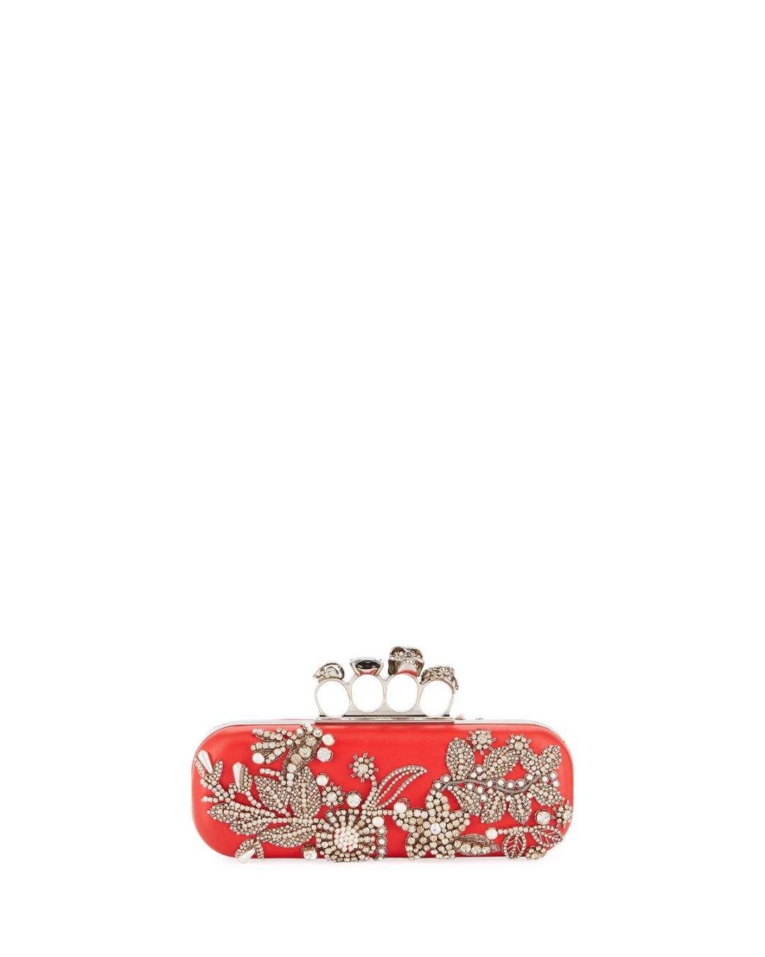 Fashionweek Fashion Week Tendencies Sling Bag Twin Side Pocket Burgundy Maroon Alexander Mcqueen Jeweled Four Ring Hard Clutch Bergdorf Goodman Neiman Marcus 2490