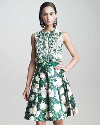 Floral Print Sleeveless Blouse and A Line Skirt