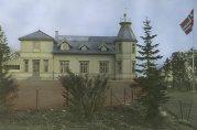 Skolen i parken. Fotoet viser hovedbygningen som var lokaler for Solhaug skole i perioden 1923 – 2003. Fotograf ukjent. Uten år.