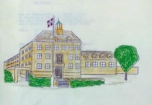 Minde Skole ble tegnet av arkitekt Erling Ross. Denne tegningen, som er utført av ukjent tegner, er fra et sanghefte i forbindelse med skolens 50-årsjubileum. Arkivet etter Minde skole, Bergen Byarkiv.