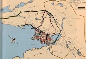 Kart over Bergens bygrenser fra middelalderen og til 1921. Bygrensen for 1276 er imidlertid feil, den gikk ved Storemøllevassdraget . Kart tegnet av Leif Riim i 1928, og senere fargelagt av Einar Høgmo.