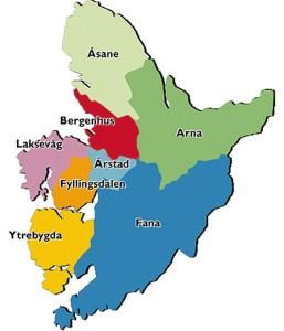 Kart som viser de politiske bydelene. Kart fra Kunnskapsforlaget.