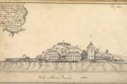 Bergenhus festning, Håkonshallen og Rosenkrantztårnet. Tegnet av J.J. Reichborn i 1768