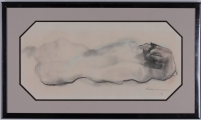 "<h5>""Reclining Nude"" by Zoltan Hecht (1963)</h5><p>Approx. 11""x24""; Pastel on paper BMAS 1082</p>"