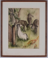 "<h5>""Ram & Mules"" by A. Rossi [?] (1972)</h5><p>Approx. 10""x13""; Watercolor on paper BMAS 1063</p>"