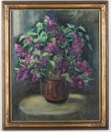 "<h5>""Untitled [Vase with Lilacs]"" by Unknown (N/D)</h5><p>Approx. 24""x36""; Oil on canvas BMAS 1148</p>"