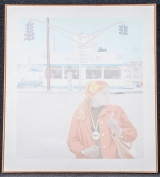 "<h5>""Hamburgers 25¢"" by Joseph Konopka (1972)</h5><p>Approx. 58""x66""; Acrylic BMAS 1180</p>"