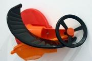 "<h5>Black Arc, Red Orange</h5><p>12""x9""x23""  Collected plastic and hardware </p>"