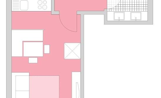 Grundrissdarstellung Appartement Ferienwohnung für max 4 Personen Körb - Direkt an der Skipiste in Lech am Arlberg