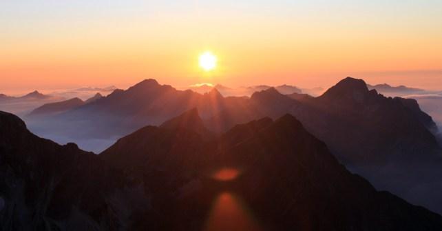 Panoramafondue, Sonnenuntergang