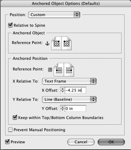 Basic settings for an anchored object