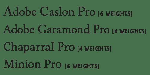 caslon, garamond, chaparral, minion, text fonts, body copy