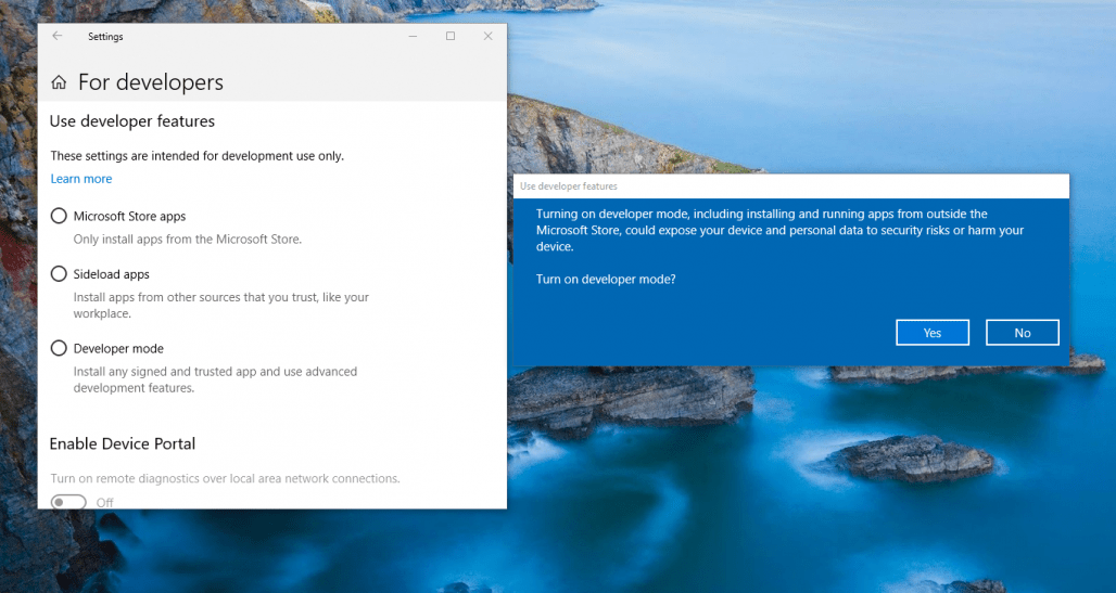 Mengaktifkan Developer Mode Windows 10