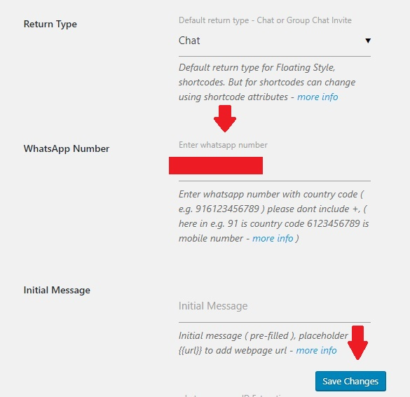 Setting WhatsApp Number