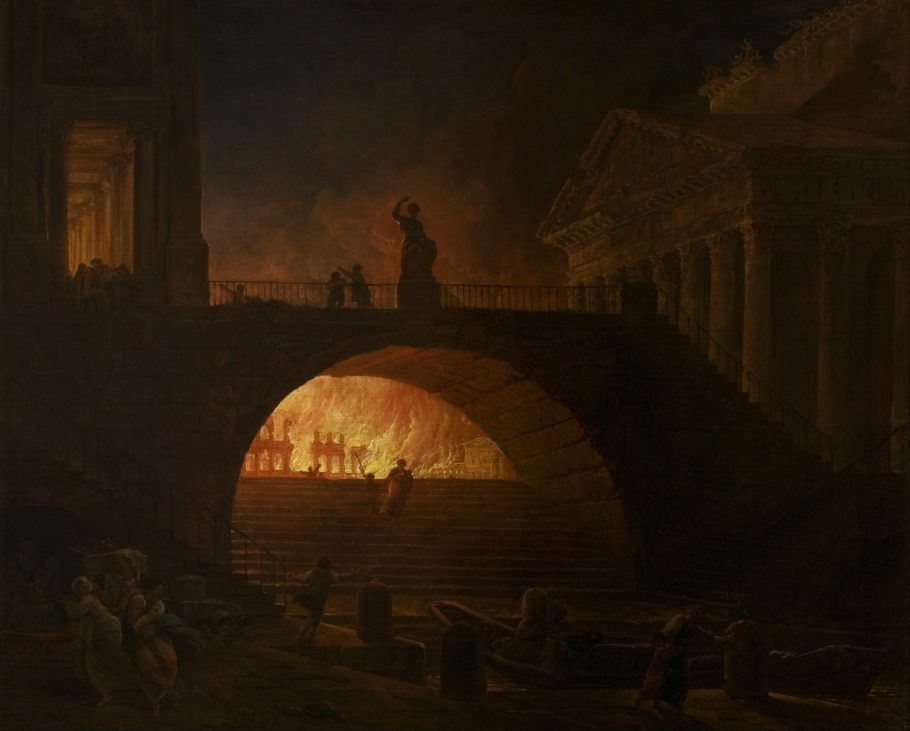 The Great Fire of Rome By Hubert Robert