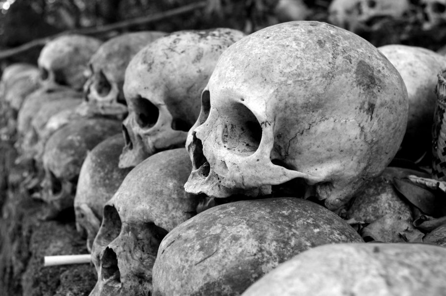 A stack of skulls, photographed in black and white.