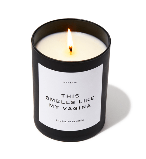 "Picture of the candle with the name ""This smells like my vagina"" on the front."